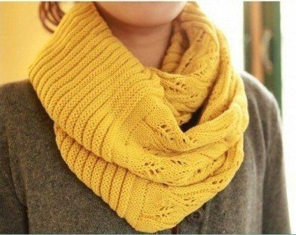 Вяжем шарф-хомут спицами с очень красивым узором 1
