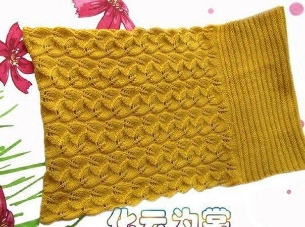 Вяжем шарф-хомут спицами с очень красивым узором 2