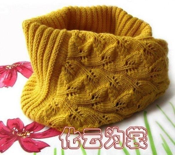 Вяжем шарф-хомут спицами с очень красивым узором 5