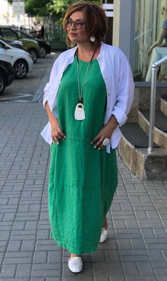 Платье с рубашкой из льна - отличный комплект на лето