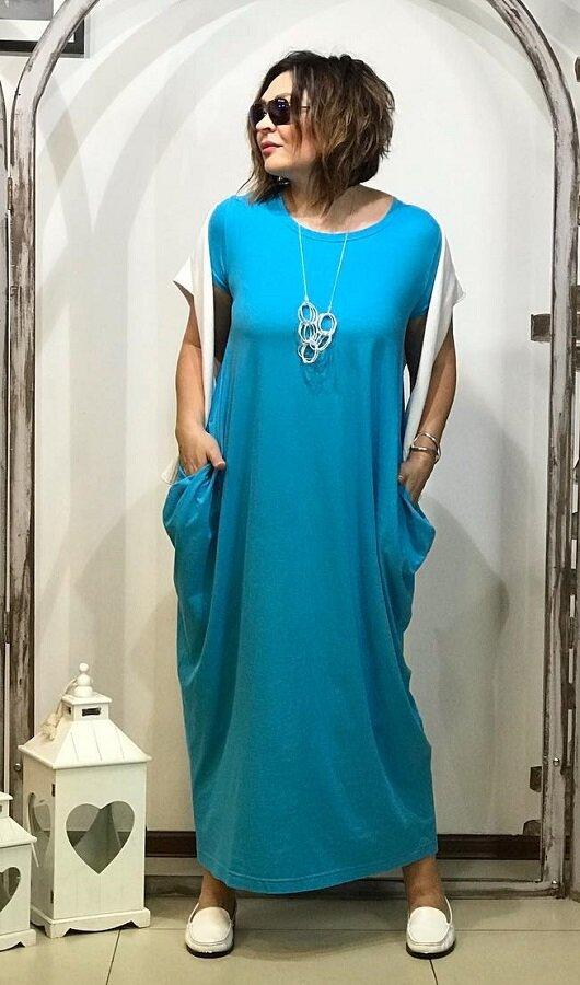 Бирюзовое платье-ромб - радостный вариант для летнего гардероба
